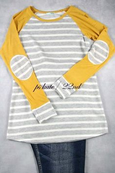 We just got in the BEST new Mustard & Gray St...!!!  A FALL MUST HAVE!  Order today at http://wildtyboutique.com/products/mustard-gray-stripe?utm_campaign=social_autopilot&utm_source=pin&utm_medium=pin