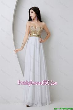 Beautiful Empire Sequined White Evening Dresses with Beading