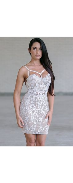 Lily Boutique Anastasia Lace Bodycon Dress in Ivory, $48 Ivory Lace Bodycon…