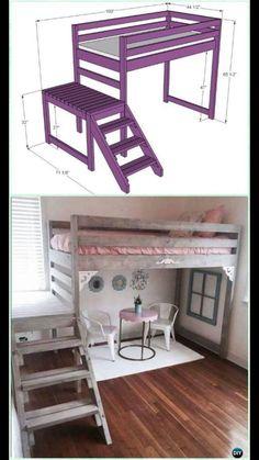 DIY Camp Loft Bed with Stair Instructions-DIY Kids Bunk Bed Free Plans (diy muebles recamara)