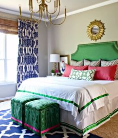 Love this preppy color scheme: #pink + kelly #green + royal #blue + gold…