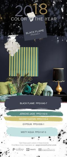 This deep indigo wall color is PPG PAINTS 2018 Color of the Year, Black Flame. This sophisticated, unexpected neutral fulfills a craving for comfort, privacy and hope. Black Flame acts like a black curtain, allowing your unique décor treasures to take cen