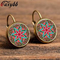 18mm glass cabochon earrings mandala lotus earrings om symbol buddhism,zen a pair henna yoga earring jewelry for women c-e174 #Affiliate