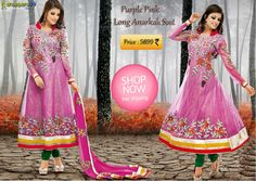 Shop Now this lovely Purple Pink Long #AnarkaliSuit Online. Get free shipping available only in India.  Click to Shop:- http://www.shoppers99.com/neha_dhupia_designer_anarkali_suits/purple_pink_long_anarkali_suit_t-624-428
