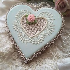 Lacy blue heart cookie by Teri Pringle Wood
