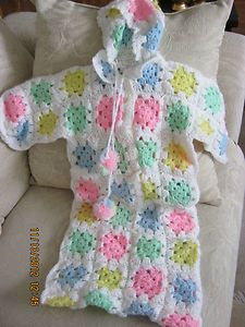 Handmade Crochet Baby Bunting Bag with A Hood by Grandma Vintage New 0 6M | eBay