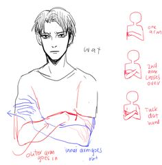 Arms crossed tutorial by kelps http://kelpls.tumblr.com/post/65425980682/hiya-how-do-you-draw-arms-crossed-over