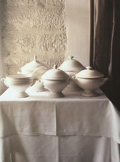 French white ironstone soup tureens