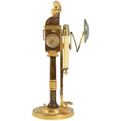 A 19th Century Mechanical Candlestick Approved by The French National Institute | From a unique collection of antique and modern candleholders and candelabra at https://www.1stdibs.com/furniture/lighting/candleholders-candelabra/