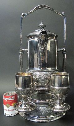 Antique Ornate 1878 Wilcox Silver Plate Cold Ice Water Tilting Pitcher Set yqz