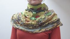 Green brown Infinity Loop Shawl Nuno Felted Wool by feltinga, $28.00