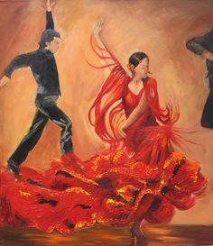 Flamenco dancer in red ruffled dress, art print on paper, Male flamenco dancers in the background.