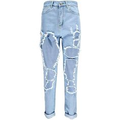 Boohoo Jodie Shredded Leg Mom Jeans (490 MAD) ❤ liked on Polyvore featuring jeans, pants, high waisted ripped jeans, high-waisted skinny jeans, high waisted boyfriend jeans, skinny jeans and boyfriend jeans