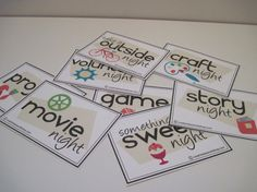 Printable Family Night Activity Cards Set by CreativiDeeWorkshop, $9.00