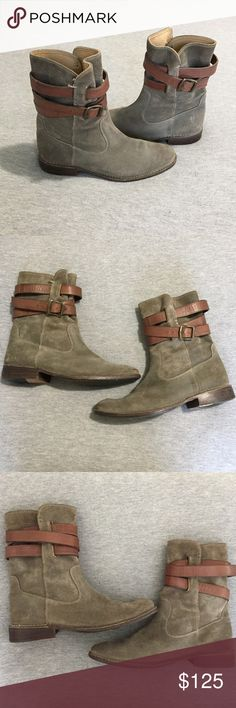 Frye Shirley Strappy Short Boot These utilitarian leather boots with bold brown straps and metal eyelets are an olive green, almost fatigue color! Neutral enough for everyday wear these boots go with everything! These boots are in great condition, with a few scuffs and signs of wear as pictured, the most major of which is the pulled stitches at the top of the boot, also as pictured. None of these flaws would affect overall look or wear! As with most frye boots, they do require breaking in…