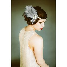 Flapper Headpiece, Vintage Inspired, Bridal Hairpiece, The Great Gatsby, 1920's, 1930's, Party, Roaring 20's, Silver, Gray, Pearl, Feather ($145) found on Polyvore