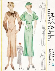 1930s 30s dress in 3 styles McCall 7233 art deco seam details kick pleat bust 38 vintage sewing pattern repro