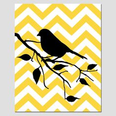 Modern Chevron Bird Silhouette Print  8 x 10 Chevron by Tessyla, $20.00