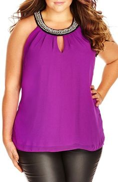 Plus Size Embellished Neck Top