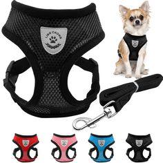 Ademende Kleine Hond Pet Harness en Leash Set Puppy Vest Roze Rood Blauw Zwart Voor Chihuahua