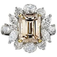 needs a shared u-prong wire setting, smaller stones, no oval stones, 0.45 carat 268 facet Radiant Cushion, Signature #3 or Click Cushion cut stone, light pastel blue, pink, peach, orange champagne diamonds/sapphires of various unique cuts like kite, onion, flame to make a mirror frame halo