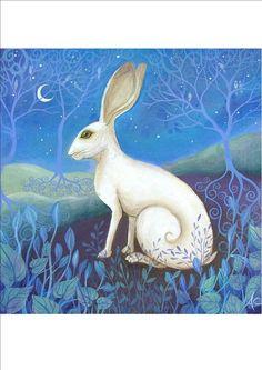 Mystical, white hare art print. Available on Etsy via Amanda Clark. (artist)