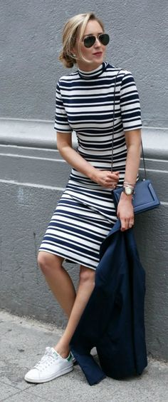 navy and white striped mock neck midi dress, navy double breasted blazer, sneakers, navy crossbody bag, aviator sunglasses + low bun hairstyle {finders keepers the label, tommy hilfiger, adidas stan smith, phillip lim, ray-ban}