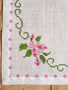 Lovely floral cross stitch embroidered tablecloth in linen from Sweden Lovely floral cross stitch embroidered tablecloth in mint condition, spotless. The size is: 15 x 15 The material is linen, cottonthread Contact me if you have questions Thank yo Cross Stitch Boarders, Cross Stitch Bookmarks, Cross Stitch Rose, Cross Stitch Alphabet, Cross Stitch Flowers, Cross Stitch Designs, Cross Stitch Patterns, Ribbon Embroidery, Cross Stitch Embroidery