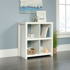 Add baskets for stylish storage with an open-shelf bookshelf. The HomePlus Bookcase in White finish compliments furniture in any room. Cube Bookcase, Bookcase Storage, Cube Storage, Storage Spaces, Bookcase White, Storage Baskets, Home Office Furniture, Furniture Deals, Online Furniture