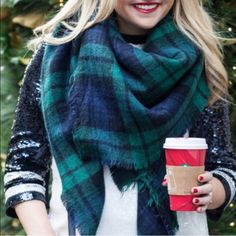 Plaid Blanket Scarf Trend alert✨ you'll absolutely love this beautiful plaid blanket scarf. High quality. No trades/offers. Discounts on bundles! Available in blue, white, tan, & mocha. Accessories Scarves & Wraps