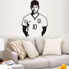 High Quality Soccer Player Neymar Pattern Removeable Background Wall Sticker #men, #hats, #watches, #belts, #fashion, #style