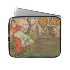 Jack O Lantern Pumpkin Moon Cow Farm Milking Laptop Computer Sleeve