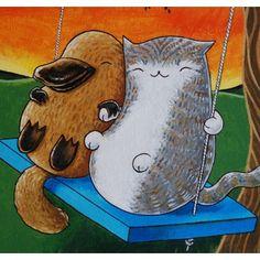My 2 favorite animals in 1 picture? Crazy Cat Lady, Crazy Cats, Critter Gitter, Duck Billed Platypus, Logic Design, Australia Animals, Bestest Friend, Kawaii Art, Mammals