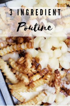 Recipe: 3 Ingredient Easy Poutine - Mom and More Other Recipes, My Recipes, Gourmet Recipes, Favorite Recipes, Poutine Recipe, Most Pinned Recipes, Cheese Curds, Good Food, Yummy Food