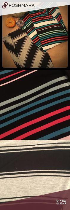 "2 Merona Maxi Skirts 2 Merona maxi skirts. NWOT One is black and gray chevron print.  One is blue black, white, and coral stripes 26"" elastic waist band 33"" L Merona Skirts Maxi"