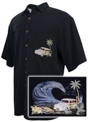 Bamboo Cay - Paradise Road - Tropical Embroidered Shirt - Black