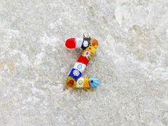 Lettera Z   Iniziale in vetro di murano. Ciondolo pendente, colori vari con murrine inserite.
