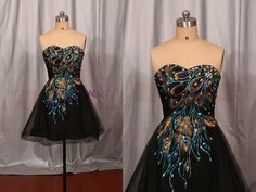2015 black tulle prom dresses with rhinestone,short embroidered peacock feather women gowns,latest cheap homecoming party dress hot.    This dress
