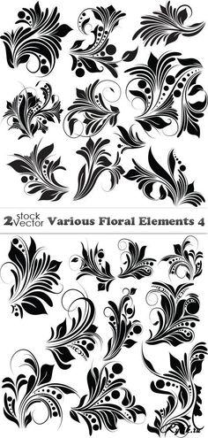 Черные растительные узоры - векторный клипарт