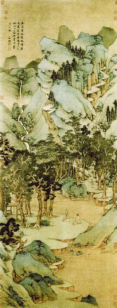明代 - 文徵明 -《春深高樹圖》            立軸‧絹本.170.1 x 65.7公分。上海博物館藏  Wen Zhengming (1470-1559, Ming dynasty)