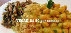 arroz cateto integral com cenoura, dahl de grão de bico com leite de coco, biomassa e curry e camponata de casca de banana