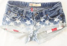 Denim ombre American Flag stars and stripe pocket shorts Low rise