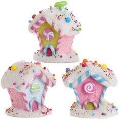 RAZ Pink Candy House Set of 3 . I need to start making my Xmas CandyLand Candy Land Christmas, Christmas Tree Themes, Christmas Gingerbread, Christmas Villages, Pink Christmas, All Things Christmas, Christmas Holidays, Christmas Crafts, Christmas Ornaments