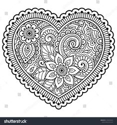 Mehndi flower pattern in form of heart for Henna drawing and tattoo. Decoration in ethnic oriental, Indian style. Coloring book page. Pattern Coloring Pages, Adult Coloring Book Pages, Printable Adult Coloring Pages, Colouring Pages, Coloring Books, Tattoo Coloring Book, Dibujo Paisley, Paisley Drawing, Henna Doodle