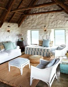 A simple yet elegant stone cottage overlooking the beach - http://beachblissliving.com/beach-country-cottage-stone