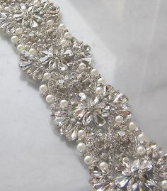 """Crystal Rhinestone Trim with Pearls, Beaded Rhinestone Bridal Applique for Wedding Gown or Sash, 24"""""""
