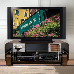 Bello 52-Inch Wide Bent Wood Audio/Video System Cabinet in Espresso Finish WAVS341