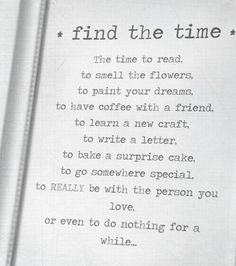 Find the time for what matters most.