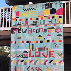 The quilt top assembled by @katikat21 for the #mqgatlanticbee The finished quilt will be exhibited @themqg #quiltcon2016 and donated to Habitat for Humanity