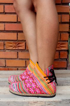 Funky Womens Ankle Boots Ethnic Hmong Embroidery by Siamese Dream Design